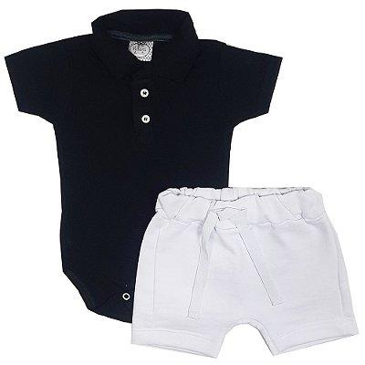 Conjunto Bebê Polo Preto + Bermuda Saruel Branca