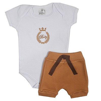 Conjunto Bebê Body Baby branco + Bermuda Saruel