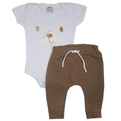 Conjunto Bebê Body Branco Cachorro + Calça Saruel Marrom