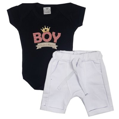 Conjunto Bebê Body Boy Preto + Bermuda Saruel Branca