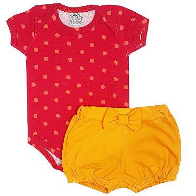 Conjunto Bebê Bolinha Amarela