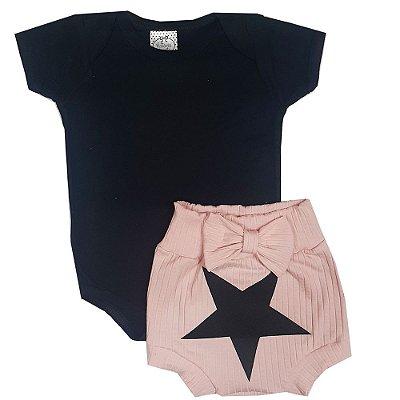 Conjunto Bebê Body Preto + Shorts Tapa Fralda Rosa