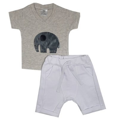 Conjunto Bebê Camiseta Elefante + Bermuda Saruel