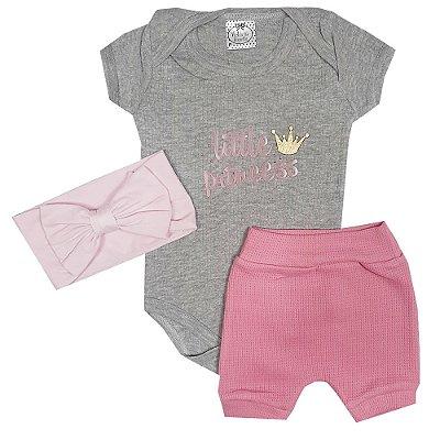 Conjunto Bebê Little Princess 3 Peças Rosa