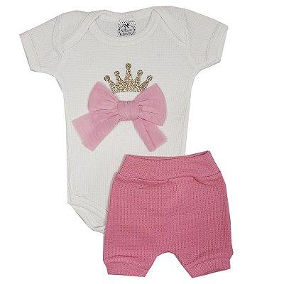 Conjunto Bebê Body Coroa Com Laço + Shorts Rosa