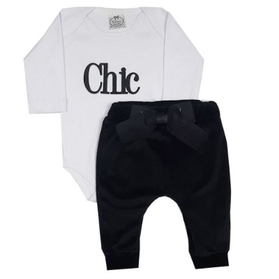 Conjunto Bebê Body Chic Branco + Calça Saruel Veludo