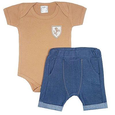 Conjunto Bebê Body Marrom + Bermuda Saruel Jeans