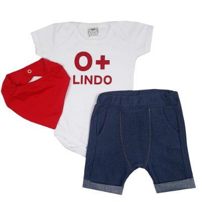 Conjunto Bebê O+ Lindo Com Bandana Vermelha
