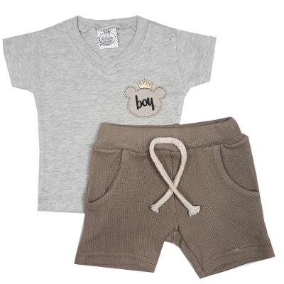 Conjunto Bebê Camiseta Cinza + Bermuda Marrom