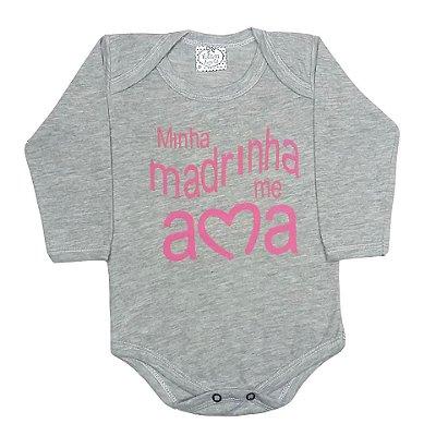 Body Bebê Manga Longa Amo Muito Minha Madrinha Rosa