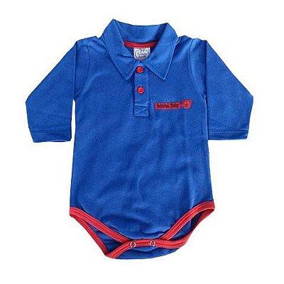 Body Bebê Polo em Piquet Azul Royal