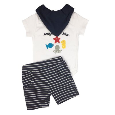 Conjunto Bebê Body e shorts com Bandana Amigos do Mar