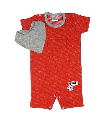 Macacão Bebê de Verão Menino Vermelho