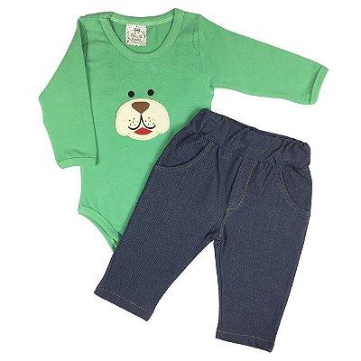 Conjunto Bebê Body Básico Manga Longa Verde Com Calça Imitando Jeans