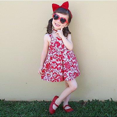 Vestido Infantil Balone Tecido Vermelho Floral