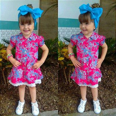 Vestido Infantil Tecido Melância Floral Duas Peças