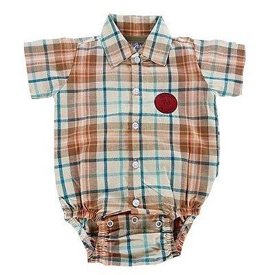 Body Camisa Social Bebê Tecido Plano Xadrez