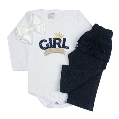 Kit Conjunto Bebê Girl + Faixa Branca