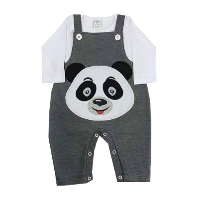 Jardineira de Bebê Inverno Cinza Mescla Panda Com Camiseta Manga Longa Branca