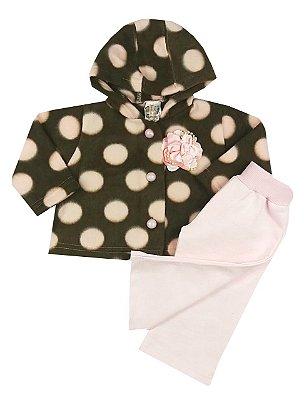 Conjunto Bebê Casaco Poá Rosa Com Capuz e Calça Moletom Rosa Bebê