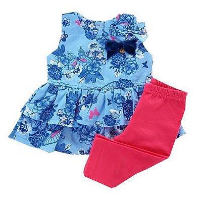 Conjunto Infantil Bata Com Babados Floral Azul Marinho e Calça Leggyn Pink