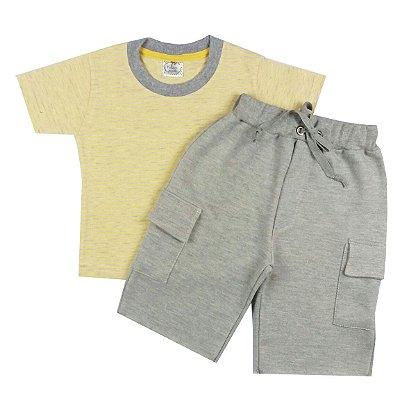 Conjunto Infantil de Verão Menino Camiseta Manga Curta Amarela Listras Com Bermuda Cinza Mescla