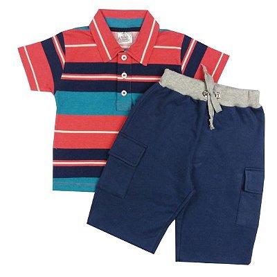 Conjunto Infantil Camisa Gola Polo Listrada e Bermuda Com Bolso Azul Marinho