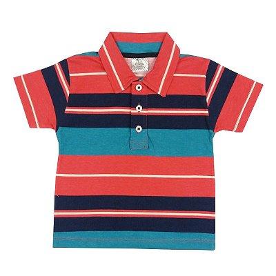 Camisa Infantil de Verão Gola Polo Listrada Vermelho