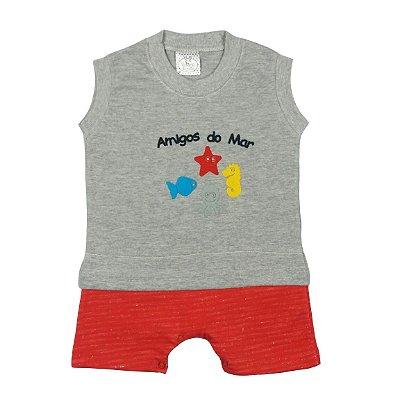 Macacão de Bebê Verão Regata Cinza Mescla e Vermelho Amigos do Mar