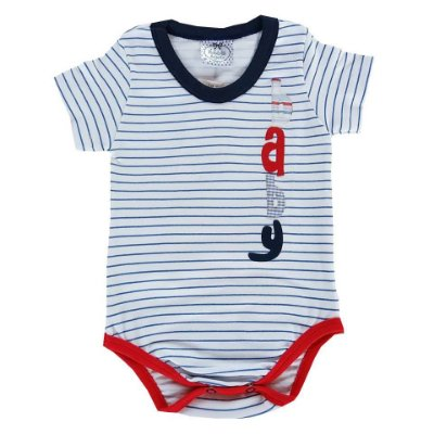 Body Bebê Manga Curta Listrado Branco e  Azul Marinho