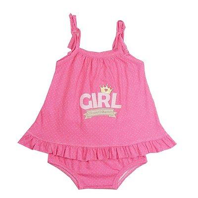 Vestido Bebê Rosa Ciclete Poá com Calcinha
