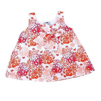 Vestido Bebê de Verão Balone Regata  Estampado em Laranja Floral
