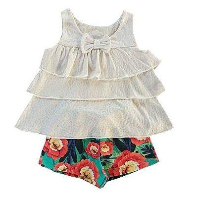 Conjunto Infantil Bata Babados Off White e Shorts Floral
