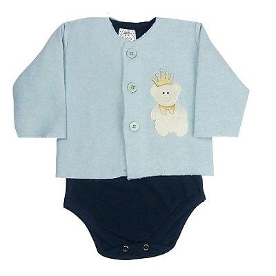 Casaco Bebê com Body Cotton Azul