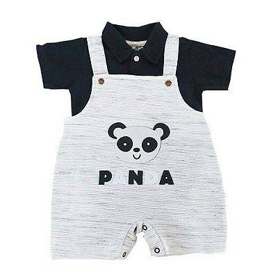 Jardineira Bebê Panda com Body Piquet