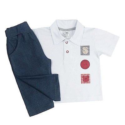 Conjunto Bebê Camisa Polo e Calça Jeans