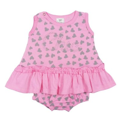 Vestido Bebê Rosa com Coração e Calcinha