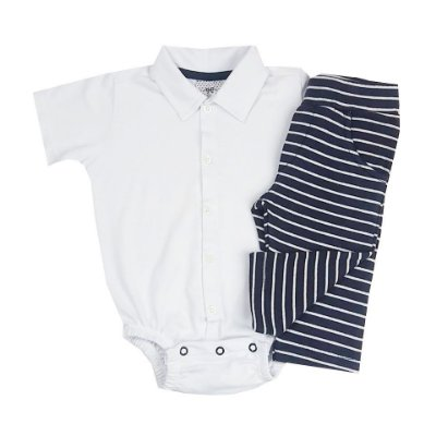 Conjunto Bebê Body Gola Polo Branco com Calça Listrada
