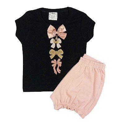Conjunto Bebê Short com Blusa Laços