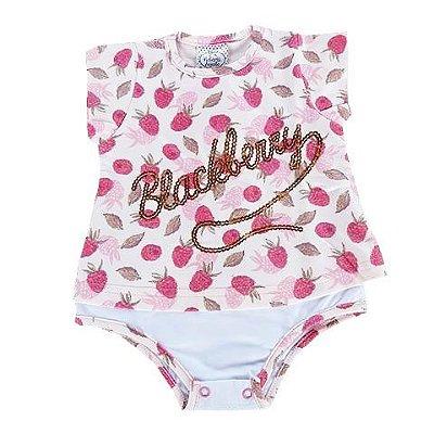 Body Bebê em Cotton Sobreposto Rosa com Estampa em Amora