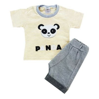 Conjunto Bebê Camiseta e Shorts Saruel Panda