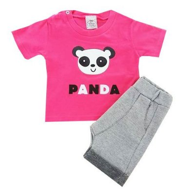 Conjunto Bebê Panda Camiseta e Shorts Saruel