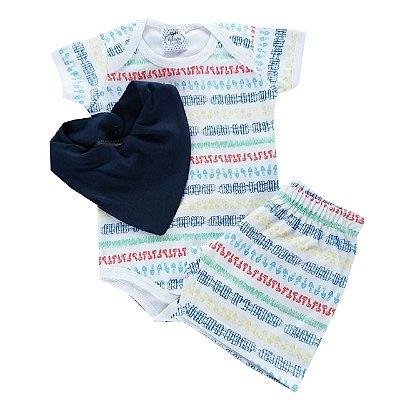 Conjunto Bebê Jardineiro Body e Shorts com Bandana