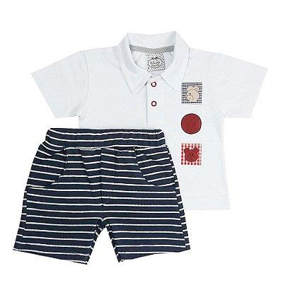 Conjunto Bebê Camisa Gola Polo com Shorts Listrado