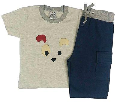 Conjunto Infantil de Verão Menino Camiseta Manga Curta Mescla Dog com Bermuda Azul Marinho