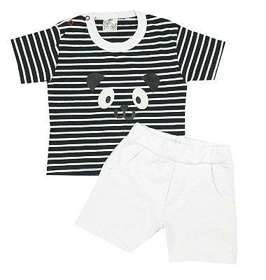 Conjunto Bebê Camiseta e Shorts Urso