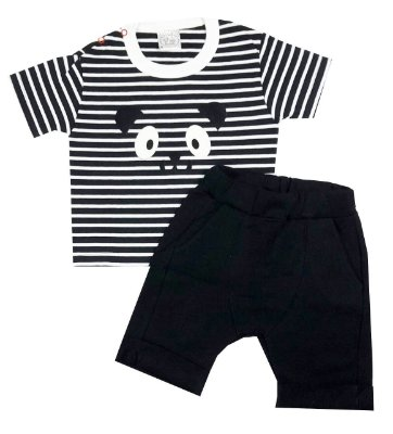 Conjunto Bebê Camiseta e Shorts Saruel Preto