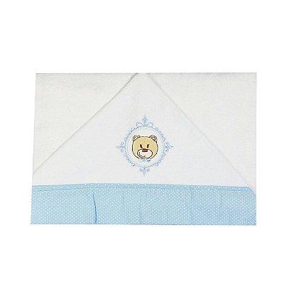 Toalha  de Banho  Bebê com Capuz Urso Azul Poá