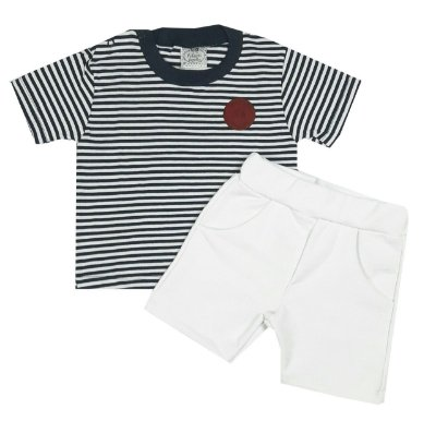 Conjunto Bebê Camiseta e Shorts Branco