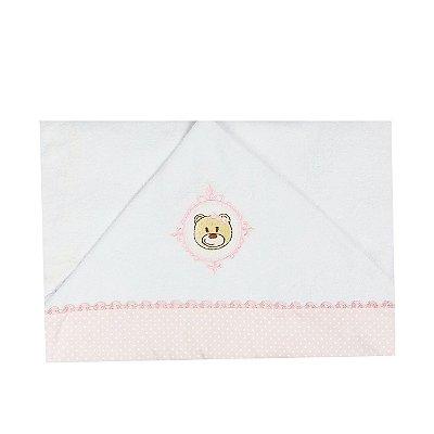 Toalha  de Banho  Bebê com Capuz Urso Rosa Poá